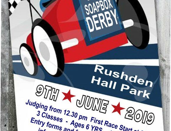 The 2019 Soap Box Derby is coming to Rushden on Sunday 9th June